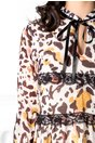 Rochie Adana ivoire cu dantela si animal print
