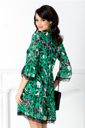 Rochie Adana verde cu dantela si animal print