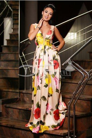 Rochie Adara de Seara Crem cu Imprimeu Floral