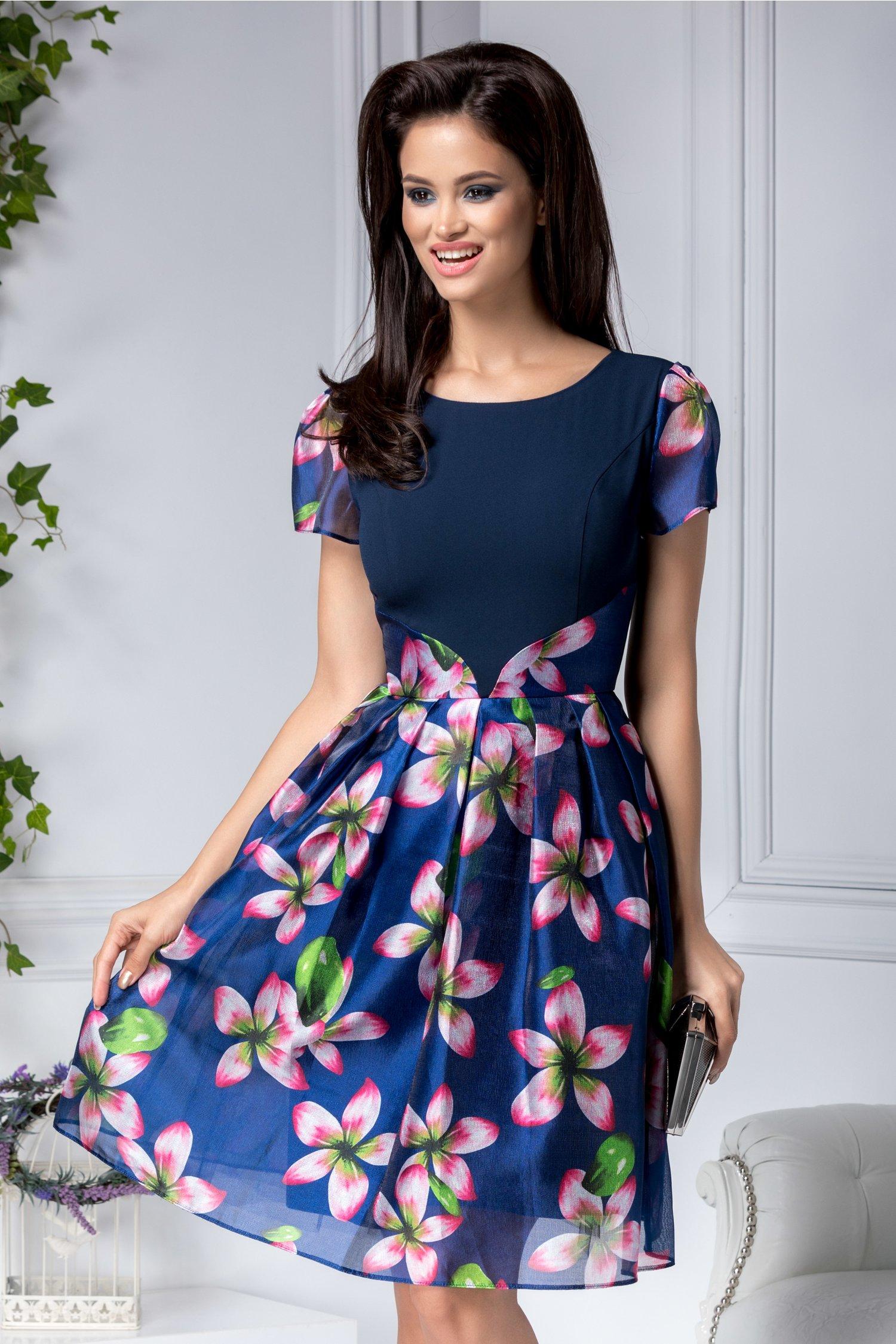 Rochie Adda bleumarin clos cu flori roz