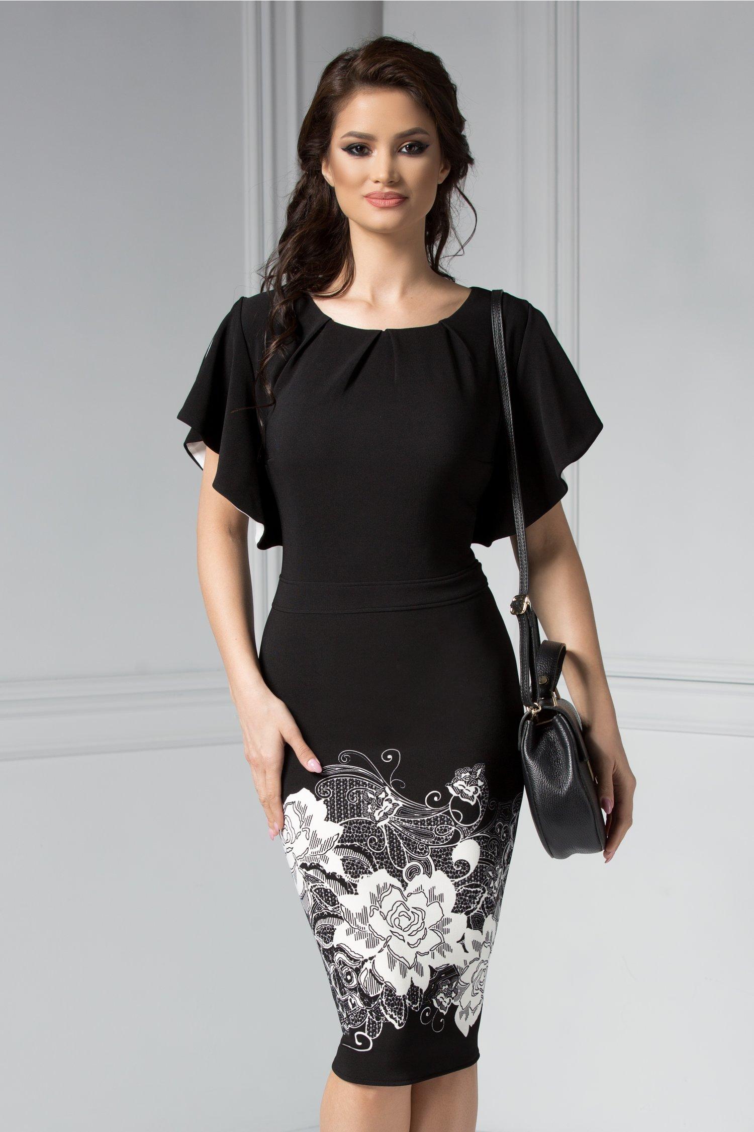 Rochie Adelaide negru cu imprimeu floral alb