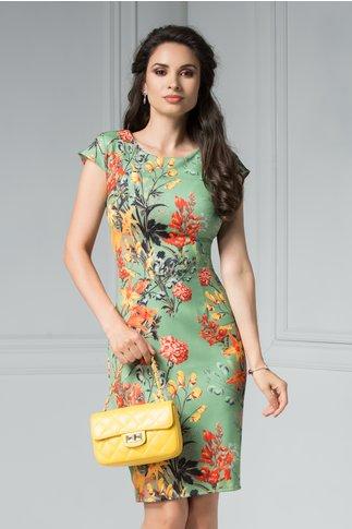 Rochie Adelaide verde cu imprimeu floral portocaliu de zi