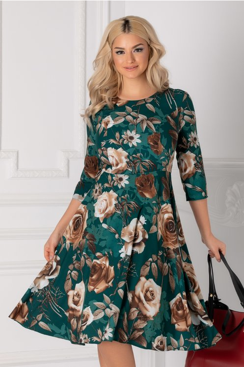Rochie Adelaide verde cu trandafiri bej