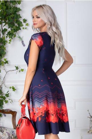 Rochie Adelaine bleumarin cu imprimeu geometric corai