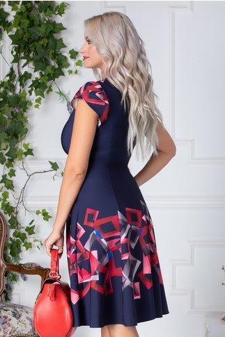 Rochie Adelaine bleumarin cu imprimeu geometric fucsia
