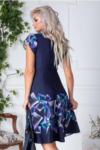 Rochie Adelaine bleumarin cu imprimeu geometric mov si turcoaz