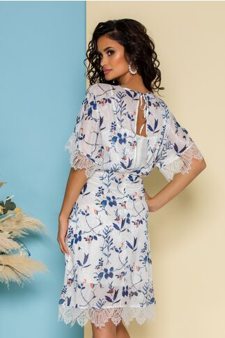 Rochie Adelina alba cu imprimeuri florale bleu