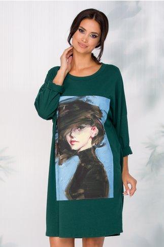 Rochie Adina casual verde cu imagine imprimata pe fata