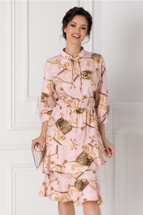 Rochie Adina roz cu imprimeuri diverse