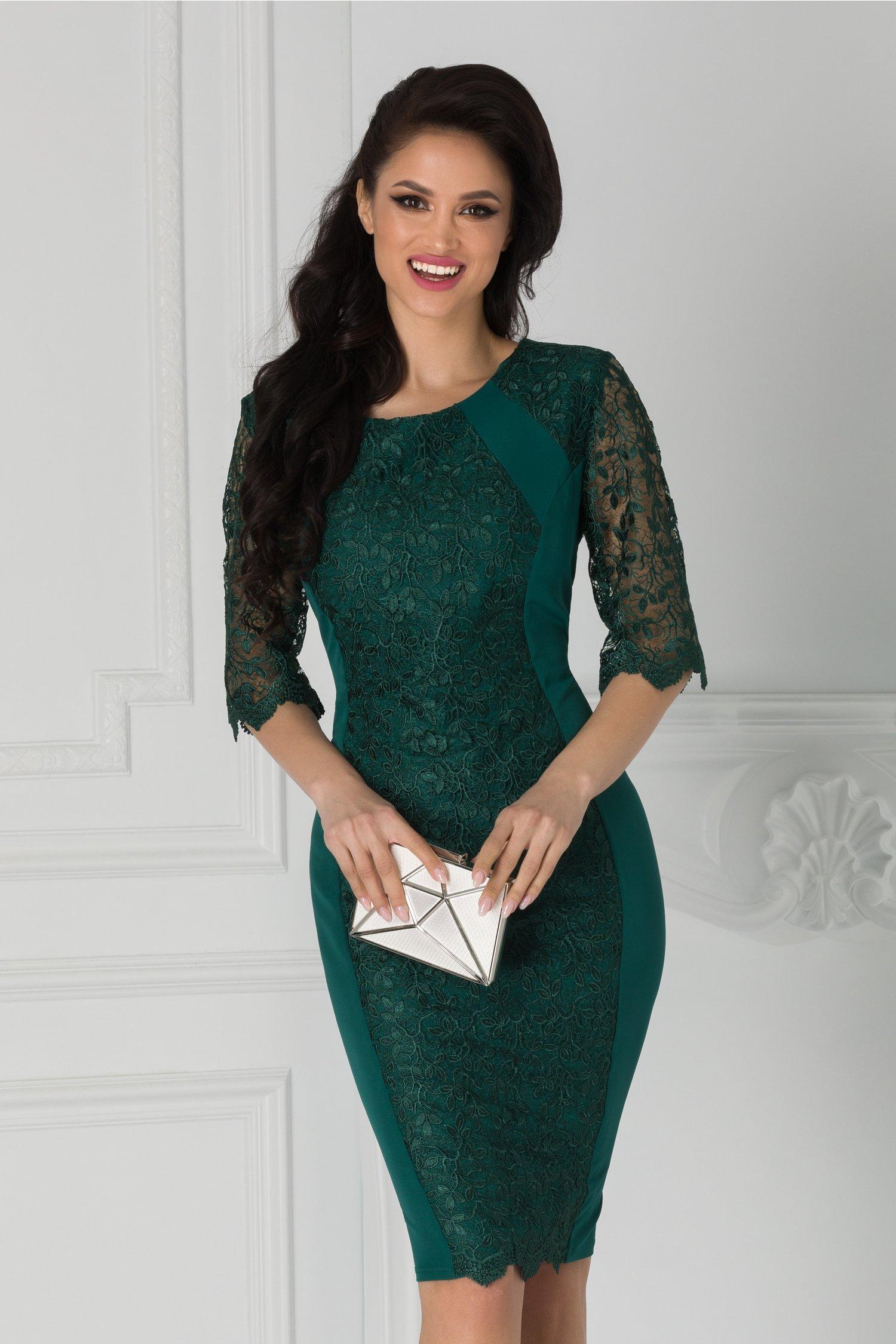 Rochie Adina verde cu aplicatii din dantela