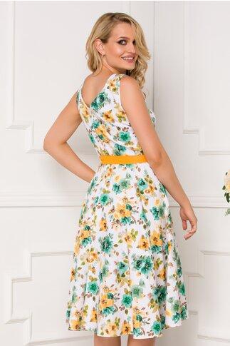 Rochie Adriana alba cu imprimeuri florale verzi