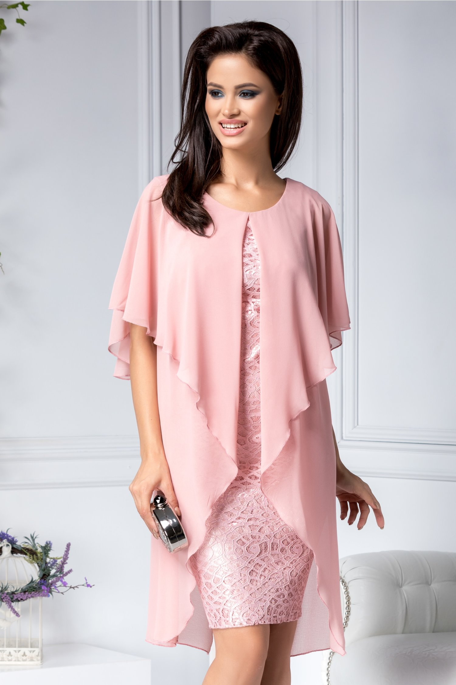 Rochie Adriana de ocazie roz din dantela si voal