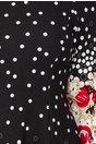 Rochie Adriana neagra cu buline albe si imprimeu floral rosu