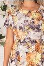 Rochie Adriela gri cu imprimeu floral watercolor in nuante de galben