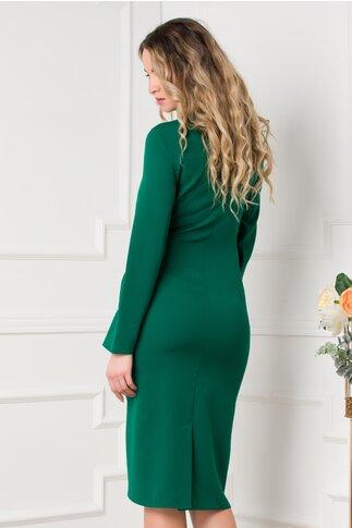 Rochie Adriella verde cu aspect petrecut si strasuri in talie