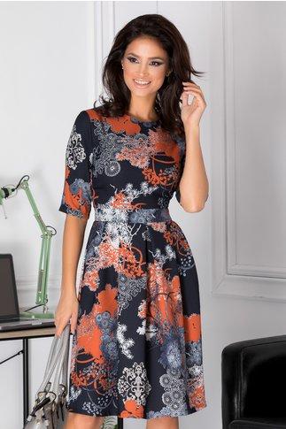 Rochie Agnes bleumarin cu imprimeu floral caramiziu