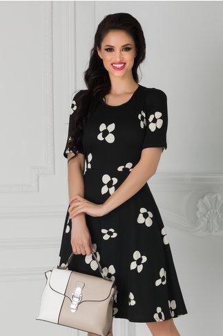 Rochie Agnes neagra cu flori albe