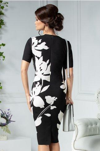 Rochie Agnes neagra cu flori mari albe