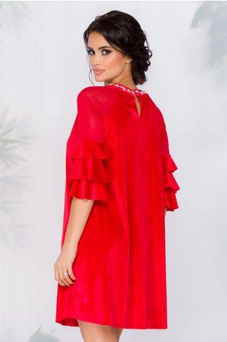 Rochie Agnes rosie din catifea cu strasuri si perle