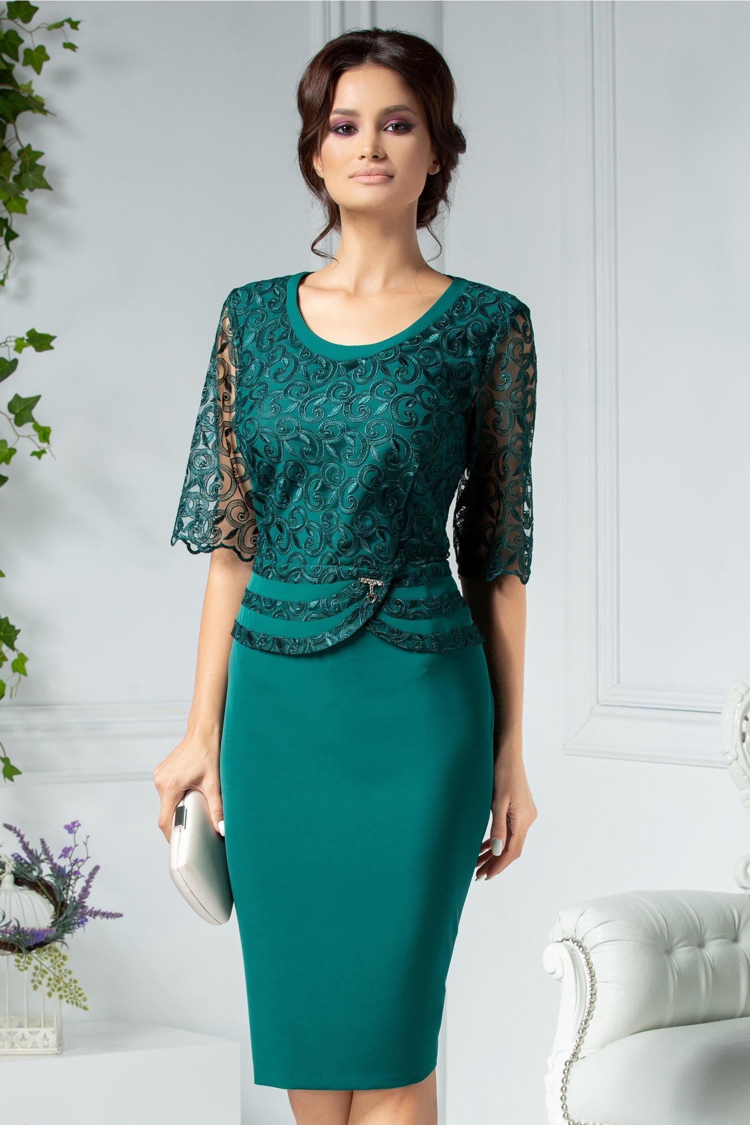 Rochie Aiana midi verde cu dantela