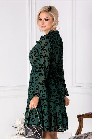 Rochie Aida verde cu imprimeu din catifea