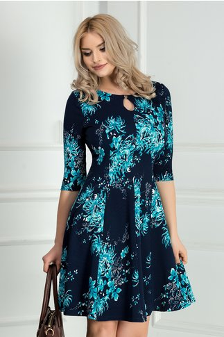 Rochie Ailis bleumarin cu crizanteme albastre