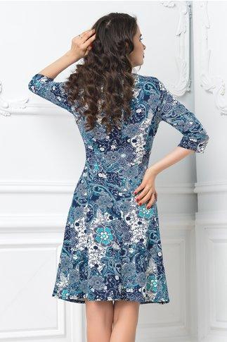 Rochie Ailis in clos cu imprimeu floral albastru