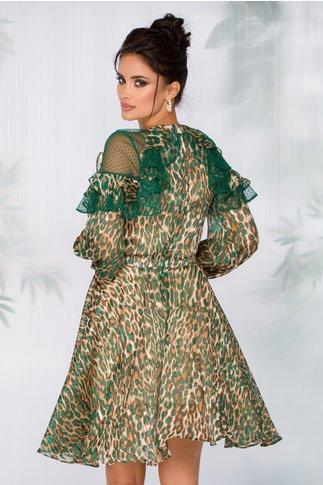 Rochie Aimee cu animal print verde accesorizata cu tull cu picatele