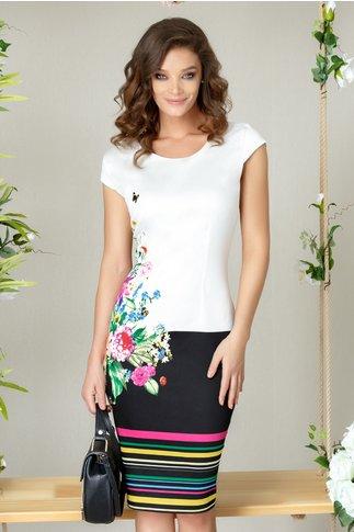 Rochie Aisha alb cu negru si imprimeu colorat