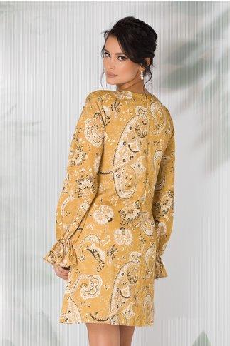 Rochie Aisha galben mustar cu imprimeuri florale stil mandala