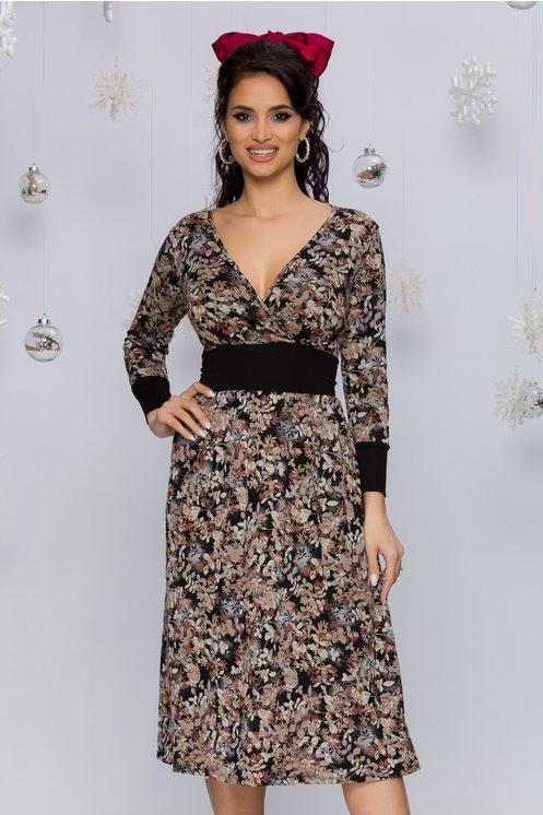 Rochie Aki neagra cu imprimeu tomnatic in nuante de maro