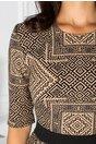 Rochie Alamina bej cu imprimeu geometric negru