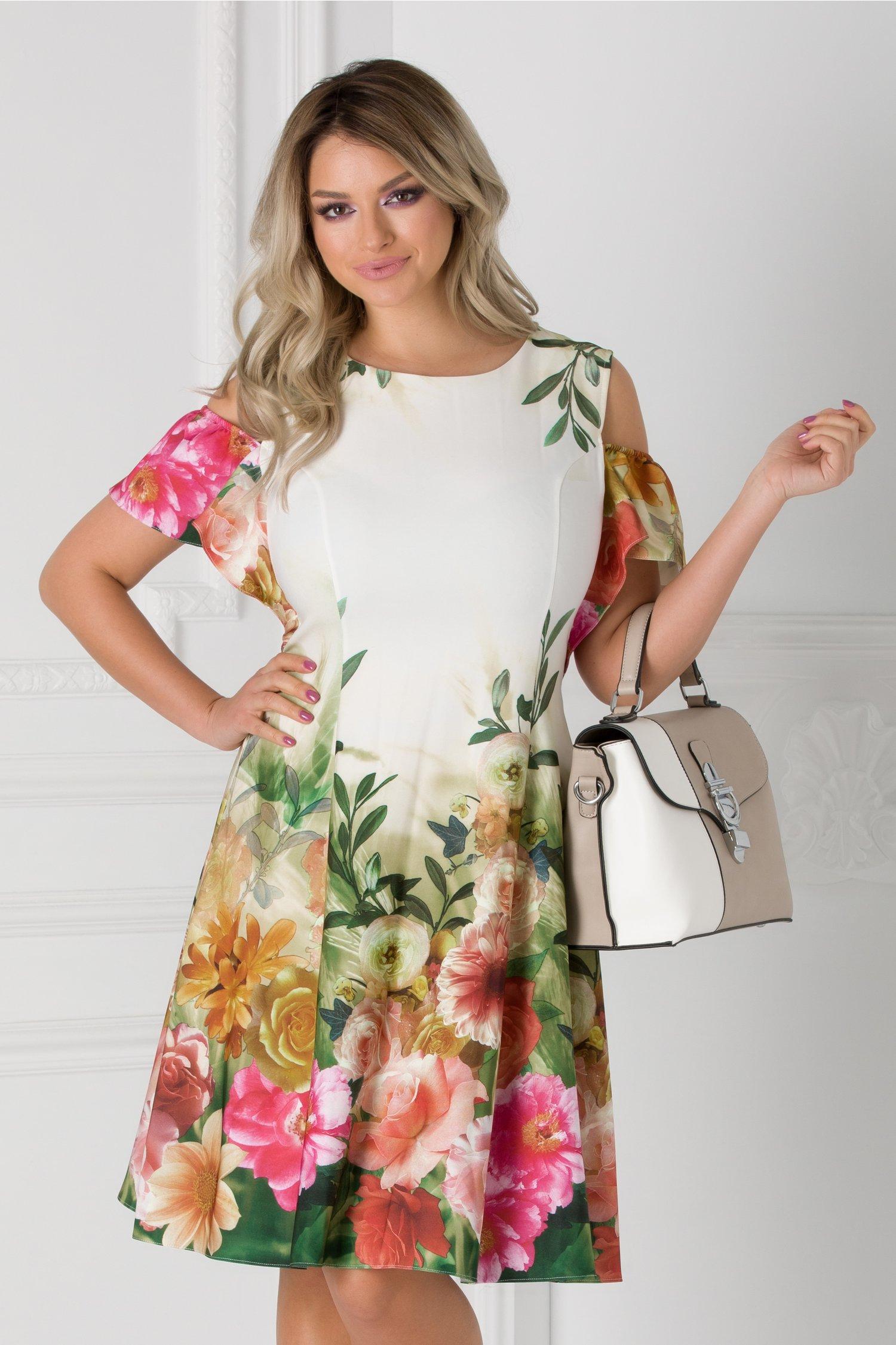 Rochie alb si verde cu imprimeu floral si maneci decupate