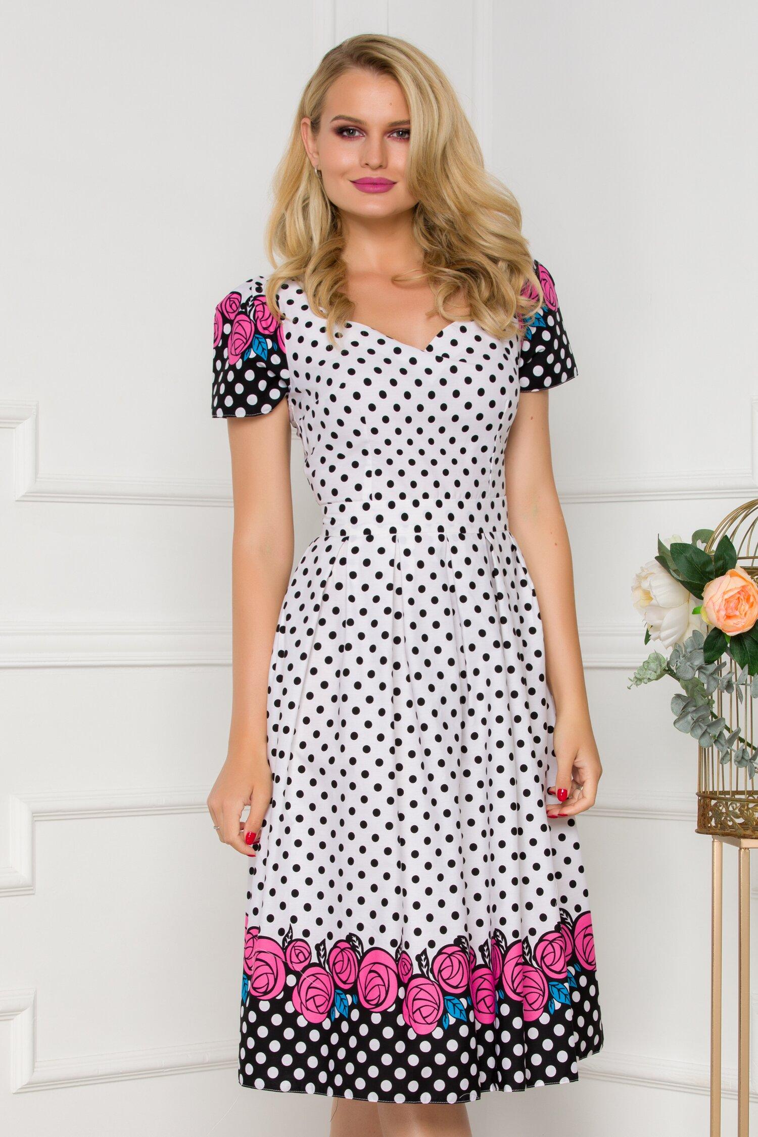 Rochie alba cu buline si imprimeu floral