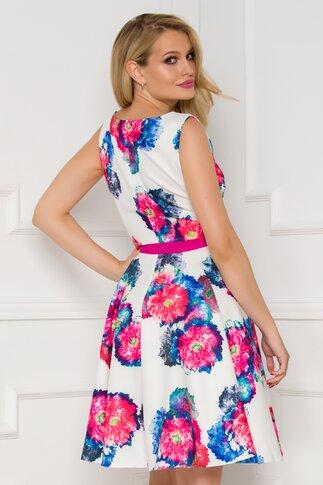 Rochie alba cu imprimeu floral maxi in nuante vibrante