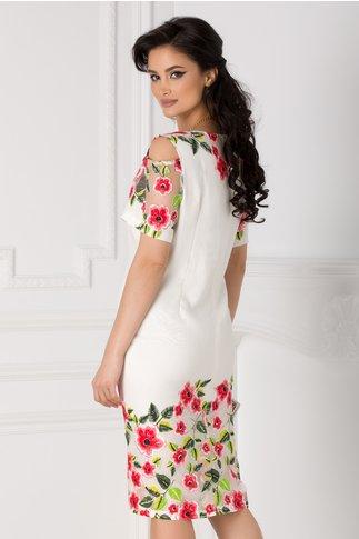 Rochie alba cu manecile decupate si imprimeu floral