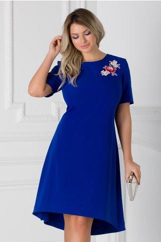 Rochie albastra cu broderie florala si paiete colorate