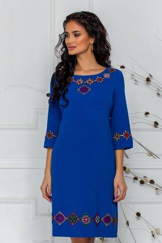 Rochie albastra cu maneci trei sferturi brodata traditional