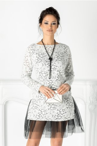 Rochie Albena alba din dantela cu tull
