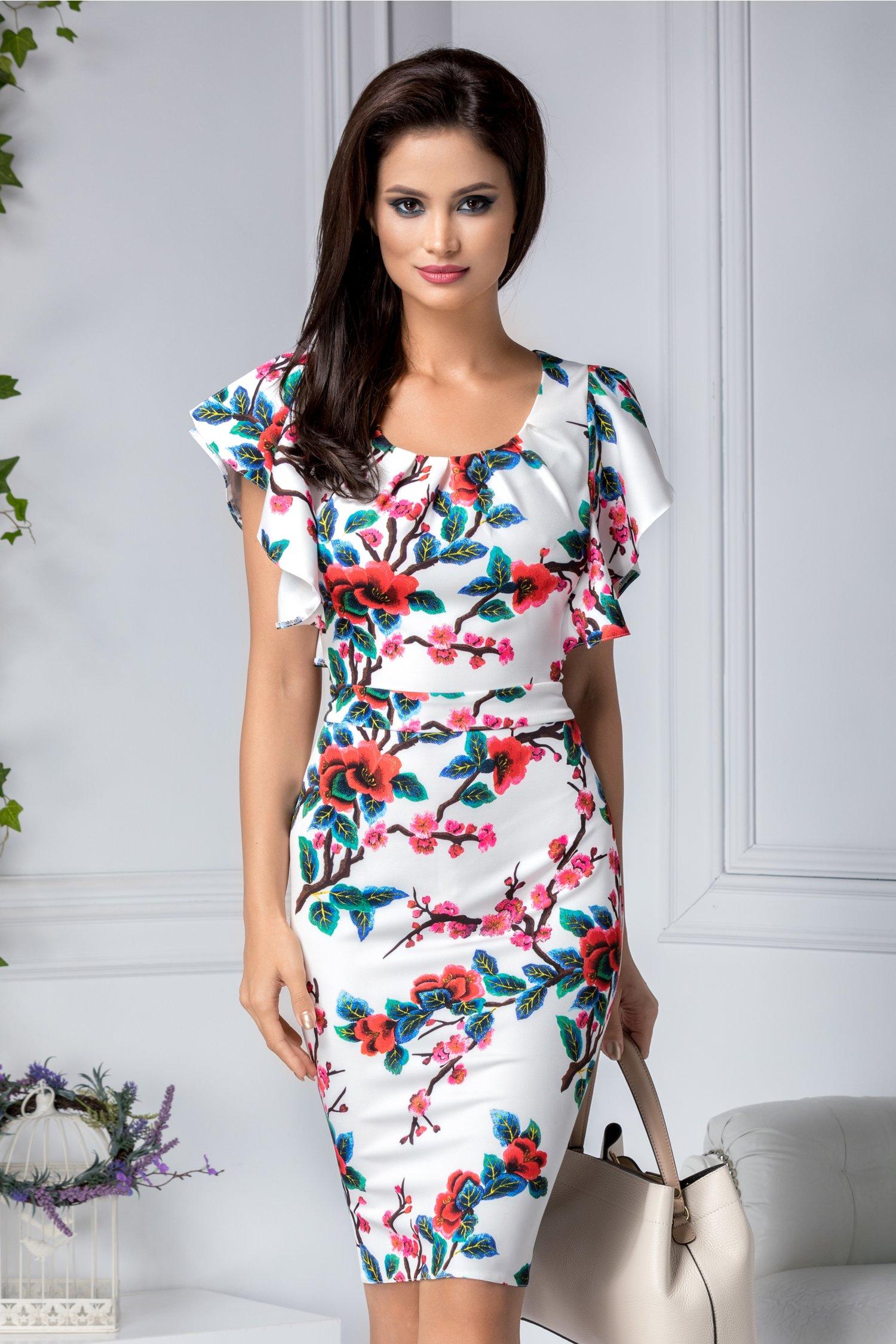 Rochie Alberta alba conica cu flori rosii