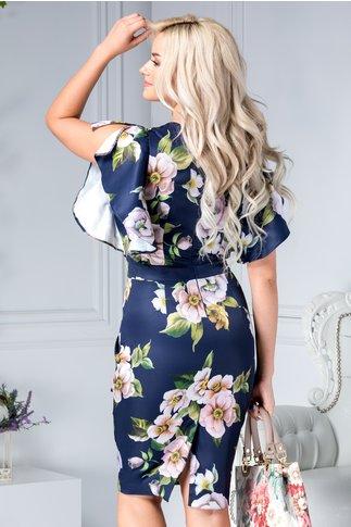 Rochie Alberta bleumarin cu flori rose