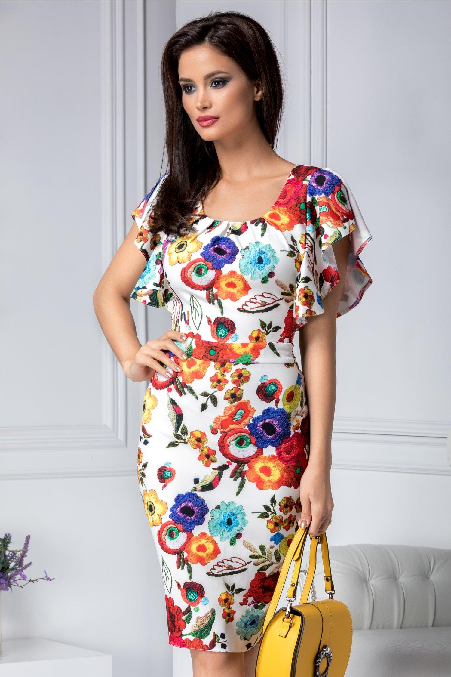 Rochie Alberta conica cu imprimeu floral colorat