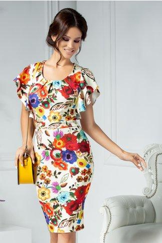Rochie Alberta conica ivory cu imprimeu floral colorat
