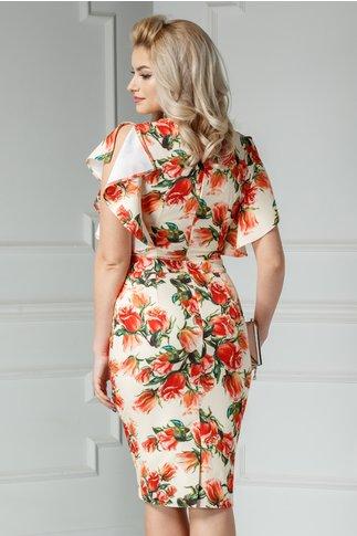 Rochie Alberta crem cu imprimeu oranj si volanase