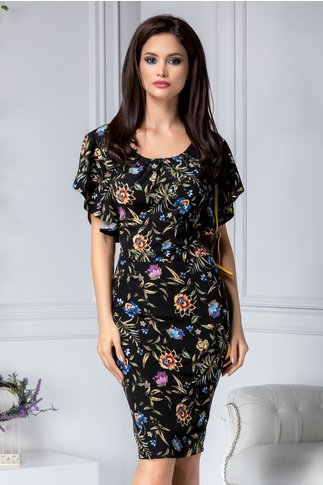 Rochie Alberta neagra conica cu flori