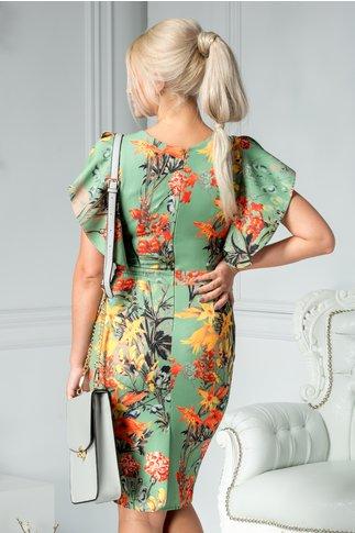 Rochie Alberta verde cu imprimeu orange