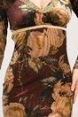 Rochie Aldina din catifea cu broderie aurie