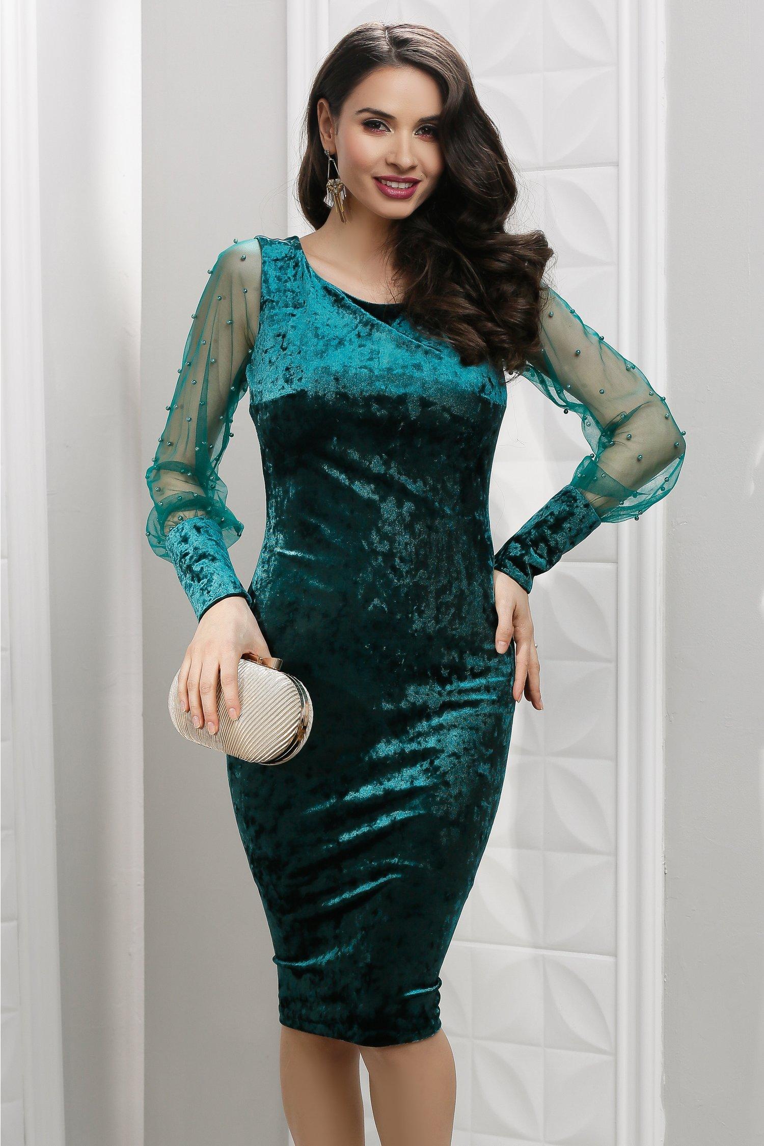 Rochie Aleah din catifea verde cu perle