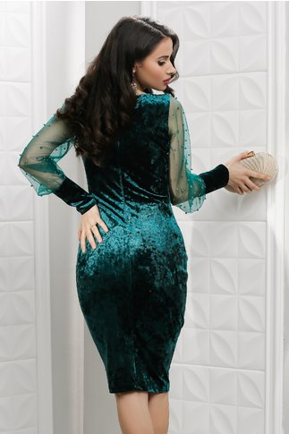 Rochie Leonard Collection Aleah din catifea verde cu perle