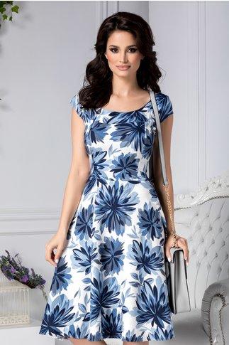 Rochie Aleena midi clos cu detalii florale albastre